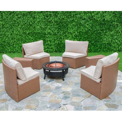 Mendon 6 Piece Curved Seating Group with Cushions