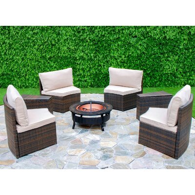 Lorelai 6 Piece Curved Seating Group with Cushion