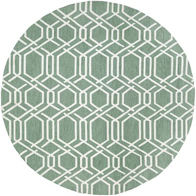 Wallingford Ariatta Sea Mist Hand-Woven Green/Beige Indoor/Outdoor Area Rug Rug Size: Round 710
