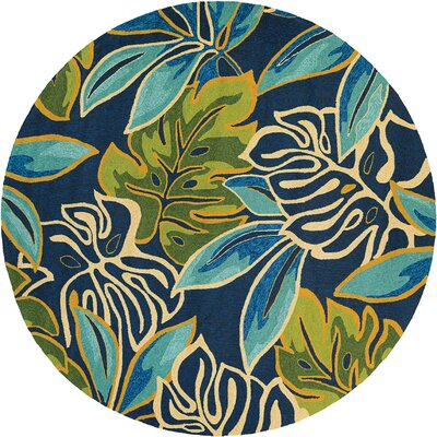 Totterdell Areca Palms Hand-Woven Azure/Green Indoor/Outdoor Area Rug Rug Size: 36 x 56
