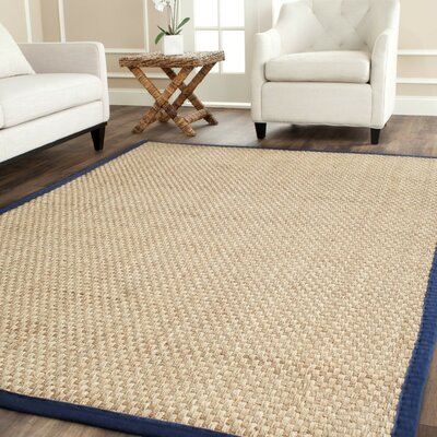 Belhaven Natural/Blue Area Rug Rug Size: 2'6