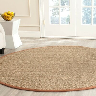 Greene Hand-Woven Natural / Light brown Area Rug Rug Size: Round 6