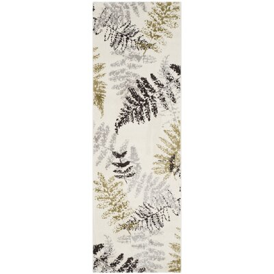 Avon Ivory / Light Grey Floral and Plant Rug Rug Size: Runner 24 x 67