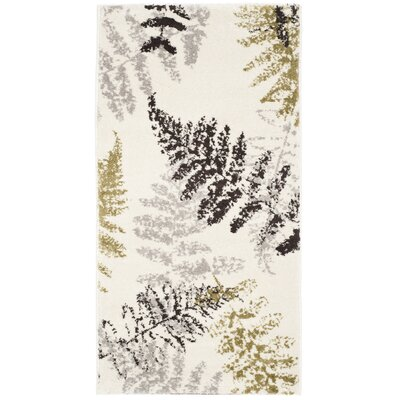 Avon Ivory / Light Grey Floral and Plant Rug Rug Size: 3 x 5
