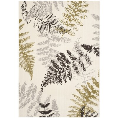 Avon Ivory / Light Grey Floral and Plant Rug Rug Size: 53 x 77