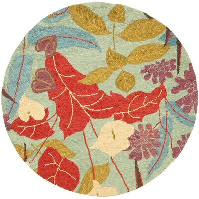 Dixie Floral Blue / Multi Contemporary Rug Rug Size: Round 6