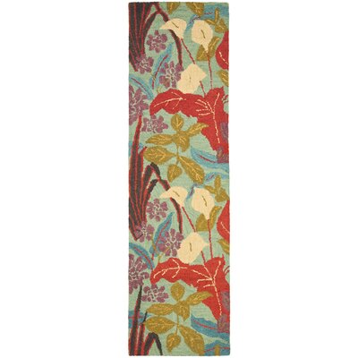 Dixie Blue Floral Area Rug Rug Size: Runner 23 x 6