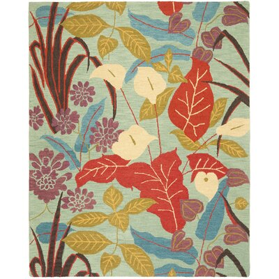 Dixie Blue Floral Area Rug Rug Size: 6 x 9