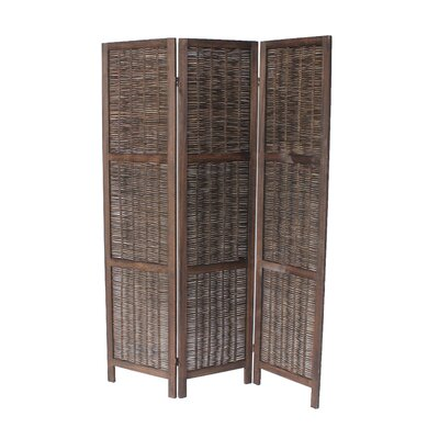 Buckland 70 x 50 3 Panel Room Divider Color: Dark Brown