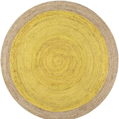 Merri Hand-Woven Yellow Area Rug Rug Size: Round 4