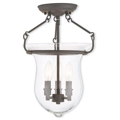 Brentwood 3-Light Semi-Flush Mount Color: Bronze