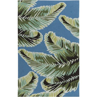 Averill Hand-Hooked Dark Blue/Emerald Indoor/Outdoor Area Rug Rug size: 4 x 6