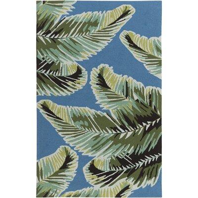Averill Hand-Hooked Dark Blue/Emerald Indoor/Outdoor Area Rug Rug size: 5 x 76