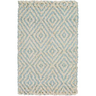 Annalee Hand-Woven Cream/Aqua Area Rug Rug Size: Rectangle 10 x 14