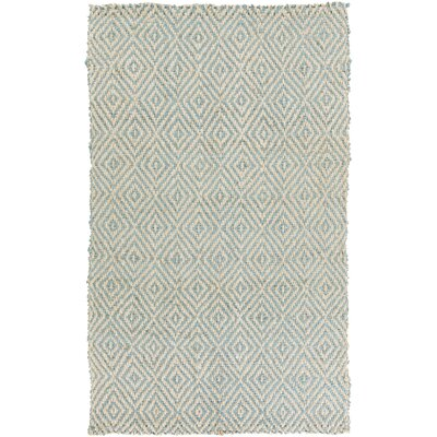 Annalee Hand-Woven Cream/Aqua Area Rug Rug Size: Rectangle 5 x 8