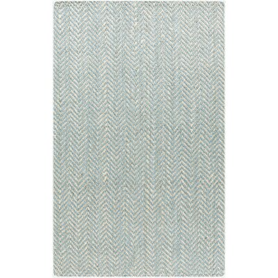 Bradford Hand-Woven Cream/Aqua Area Rug Rug size: Rectangle 5 x 8