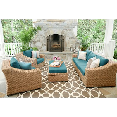 St. Johns 6 Pieces Deep Seating Group with Cushion Finish: Spectrum Peacock