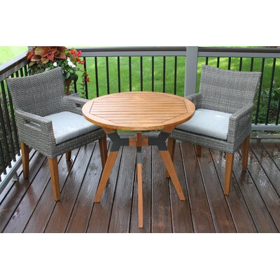 Roseland Eucalyptus and Metal 3 Piece Bistro Set