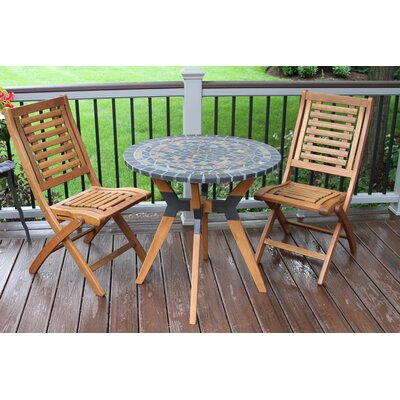 Roseland Eucalyptus and Metal Bistro 3 Piece Bistro Set
