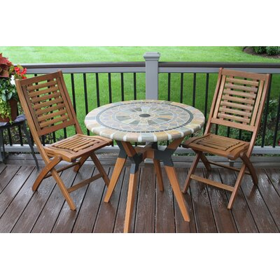 Harwich Matte Stone, Eucalyptus and Metal 3 Piece Bistro Set