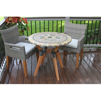 Francestown Matte Stone, Eucalyptus and Metal 3 Piece Bistro Set
