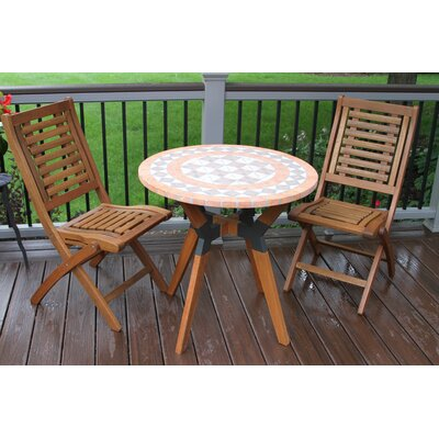 Roseland Terra Cotta, Eucalyptus and Metal 3 Piece Bistro Set