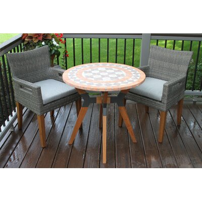 Roseland Eucalyptus and Metal 3 Piece Bistro Set with Cushions