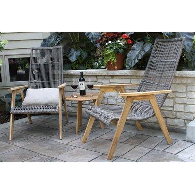 Weybridge Teak and Wicker Basket 3 Piece Lounge Seating Group