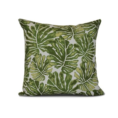 Thirlby Palm Leaves Outdoor Throw Pillow Size: 16 H x 16 W x 3 D, Color: Green