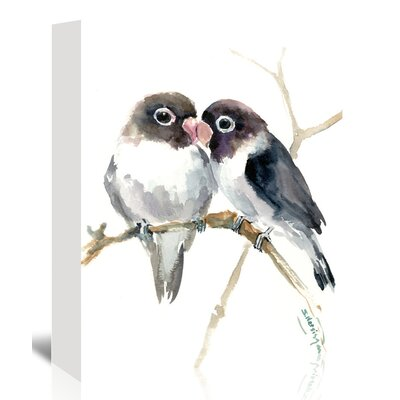 """Gray Masked Lovebirds Painting Print on Wrapped Canvas Size: 14"""" H x 11"""" W x 1.25"""" D BAYI4857 33492268"""