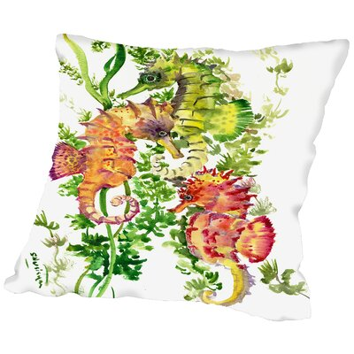 Weybridge Sea Horses Throw Pillow Size: 16 H x 16 W x 2 D