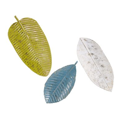Blue/White 3 Piece Leaf Tray Wall Décor Set