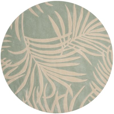 Palmnue Hand-Hooked Beige/Gray Area Rug Rug Size: Round 6