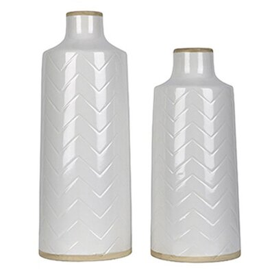 2 Piece White Ceramic Vase Set