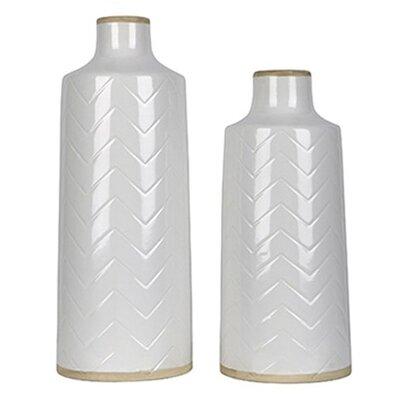 2 Piece White Ceramic Vase Set