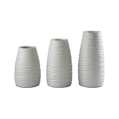 3 Piece White Vase Set