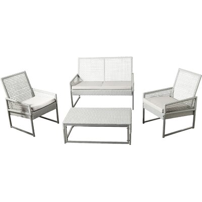 Akaki 4 Piece Deep Seating Group with Cushion Finish: Grey