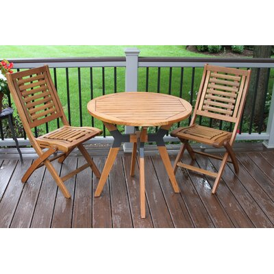 Roseland Eucalyptus and Metal 3 Piece Round Bistro Set