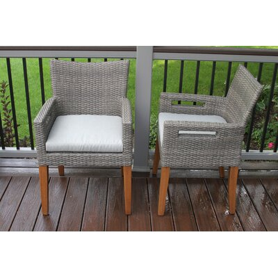 Roseland Grey Wicker & Eucalyptus Arm Chair with Olefin Cushion, 2pk.