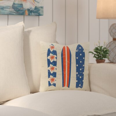 Janyce Triple Surf Geometric Outdoor Throw Pillow Color: Orange/Blue