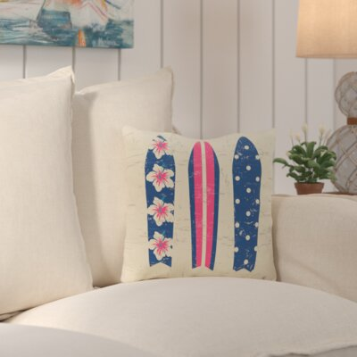 Janyce Triple Surf Geometric Outdoor Throw Pillow Color: Pink/Blue