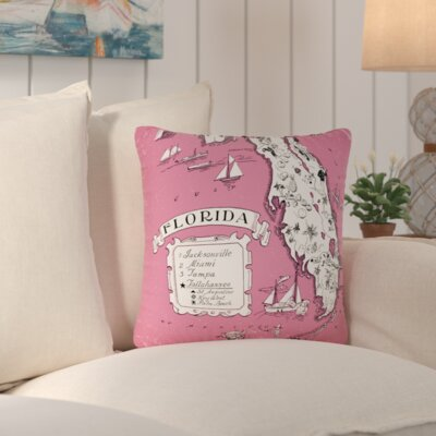 Donahue Florida Map Throw Pillow Color: Pink
