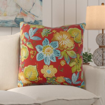 Mira Floral Floral Indoor/Outdoor Floor Pillow Color: Red