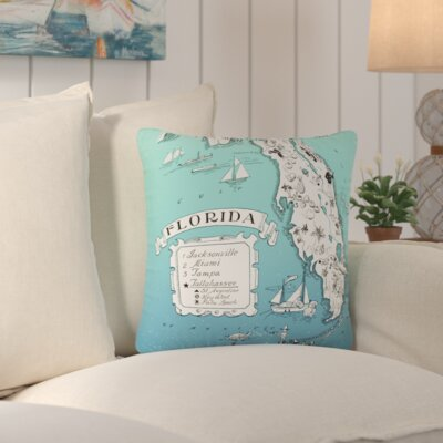 Donahue Florida Map Throw Pillow Color: Blue