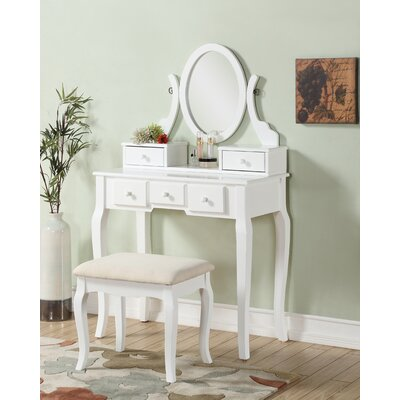 Stonington Wood Makeup Vanity Set with Mirror Color: White