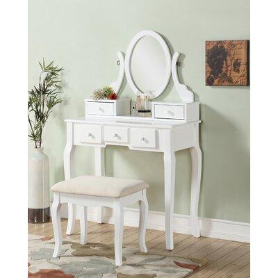 Stonington Wood Makeup Vanity Set with Mirror Color: White