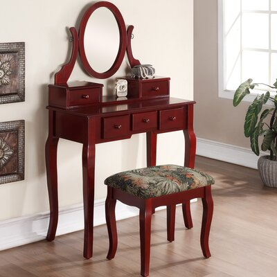 Stonington Wood Makeup Vanity Set with Mirror Color: Cherry