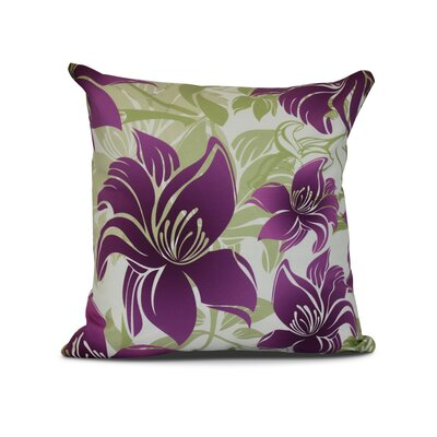 Costigan Tree Mallow Floral Print Throw Pillow Size: 26 H x 26 W x 3 D, Color: Purple