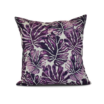 Thirlby Palm Leaves Outdoor Throw Pillow Size: 18 H x 18 W x 3 D, Color: Purple