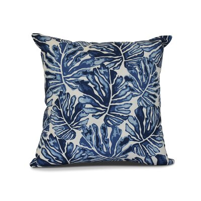 Costigan Palm Leaves Floral Print Outdoor Throw Pillow Size: 16 H x 16 W x 3 D, Color: Blue